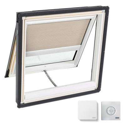 44.25 x 45.75 in. Venting Deck Mount Skylight, Laminated Low-E3 Glass, Classic Sand Solar Powered Light Filtering Blind
