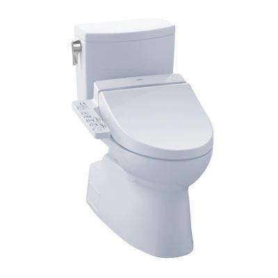 Vespin II Connect+ 2-Piece 1.0 GPF Elongated Toilet with Washlet C100 Bidet Seat and CeFiOntect in Cotton White