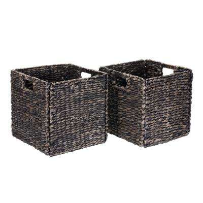 12 in. x 12 in. Square Handmade Water Hyacinth Wicker Foldable Basket in Black (2-Pack)