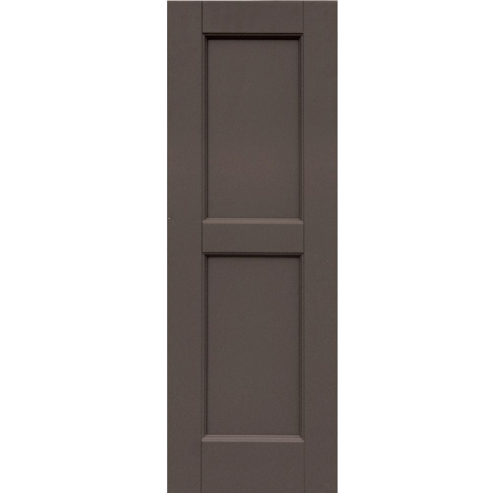 Winworks Wood Composite 12 in. x 35 in. Contemporary Flat Panel Shutters Pair #641 Walnut