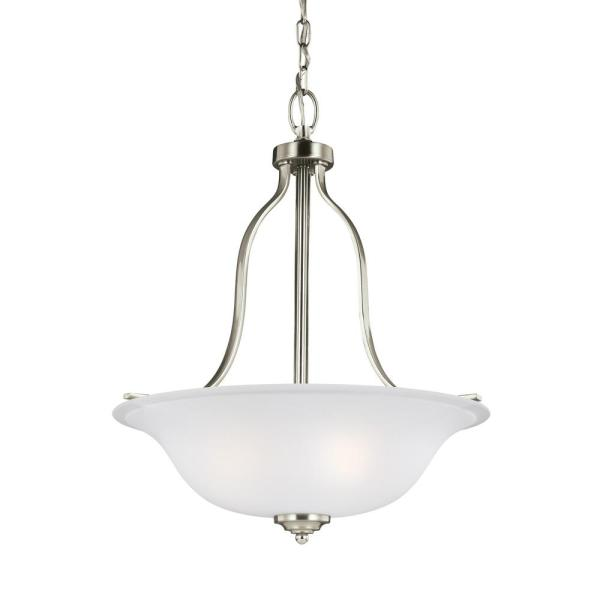 Emmons 3-Light Brushed Nickel Pendant with LED Bulbs