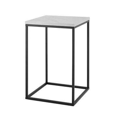 16 in. White Marble Open Box Side Table