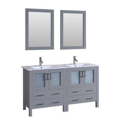 Bosconi 60 in. W Double Bath Vanity in Gray with Vanity Top with White Basin and Mirror