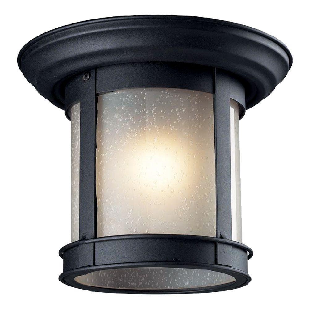 thomas lighting mission black 1 light outdoor semi flush mount sl96657 the home depot. Black Bedroom Furniture Sets. Home Design Ideas