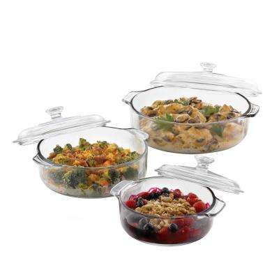 Baker's Basics 3-Piece Glass Bake Set with 3-Covers