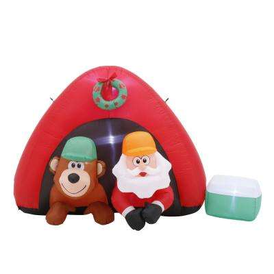 Christmas 7 ft. Inflatable Santa Camping