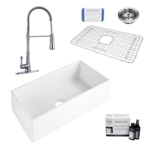 Harper All-in-One Farmhouse Apron Front Fireclay 36 in. Single Bowl Kitchen Sink with Pfister Zuri Faucet and Strainer
