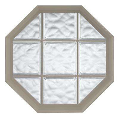 26 in. x 34 in. Acryilc Block Fixed Octagon Geometric Vinyl Window in Driftwood