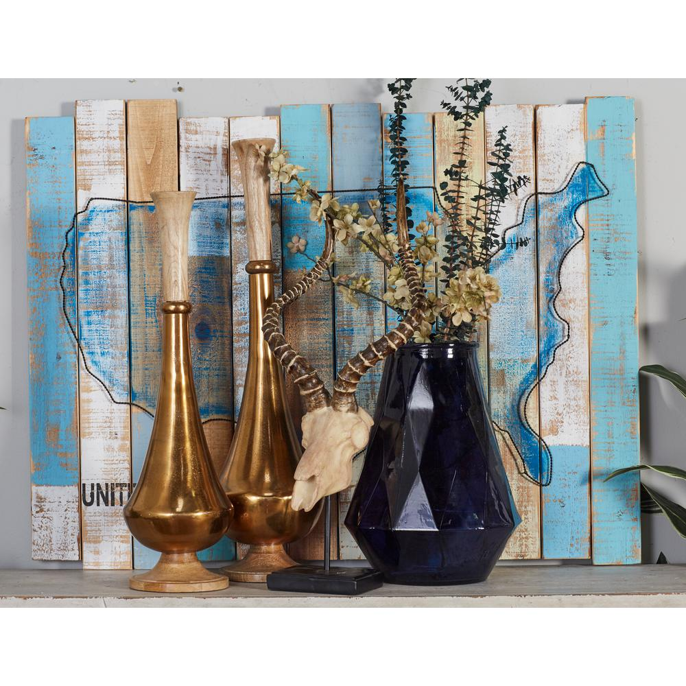 """30 in. x 39 in. """"Blue Painted USA Landmass"""" Framed Wooden"""