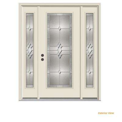 62 in. x 80 in. Full Lite Kingston Primed Steel Prehung Right-Hand Inswing Front Door with Sidelites