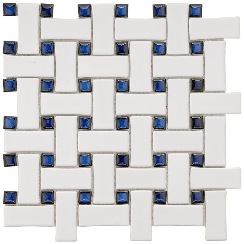 Merola Tile Basket Weave White and Cobalt 9-3/4 in. x 9-3/4 in. x 5 mm Porcelain Mosaic Floor&Wall Tile(6.7 sq.ft./cs)-DISCONTINUED