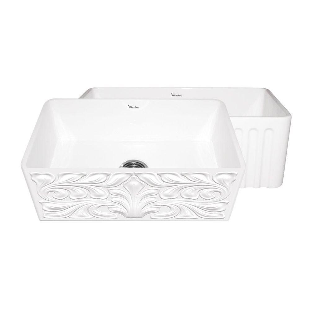 Whitehaus Collection Gothichaus Reversible Farmhaus Series Apron Front Fireclay 30 in. Single Bowl Kitchen Sink in White