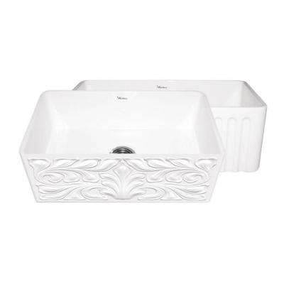 Gothichaus Reversible Farmhaus Series Apron Front Fireclay 30 in. Single Bowl Kitchen Sink in White