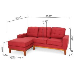 Terrific Noble House Welles Mid Century Modern Tufted Red Fabric Caraccident5 Cool Chair Designs And Ideas Caraccident5Info