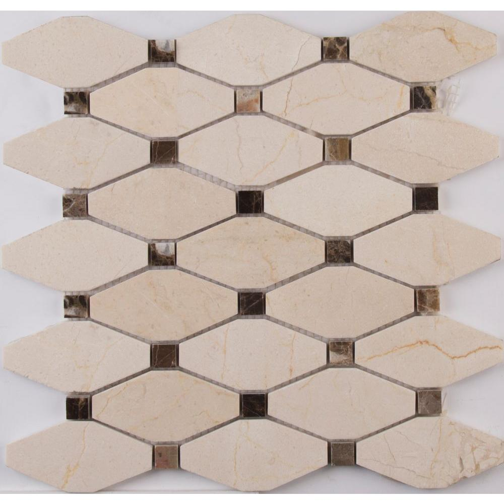 MSI Valencia Blend Elongated Octagon 12 in. x 12 in. x 10 mm Polished Marble Mesh-Mounted Mosaic Tile