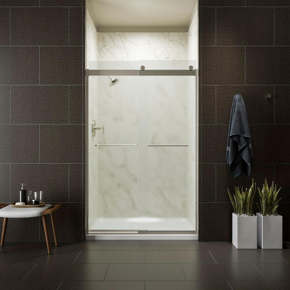 KOHLER Levity 48 in. x 74 in. Semi-Frameless Sliding Shower Door in Nickel with Frosted Glass and Handle