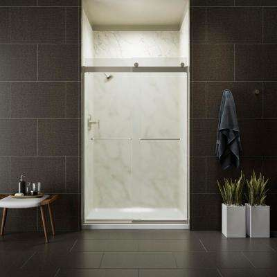 Levity 48 in. x 74 in. Semi-Frameless Sliding Shower Door in Nickel with Frosted Glass and Handle