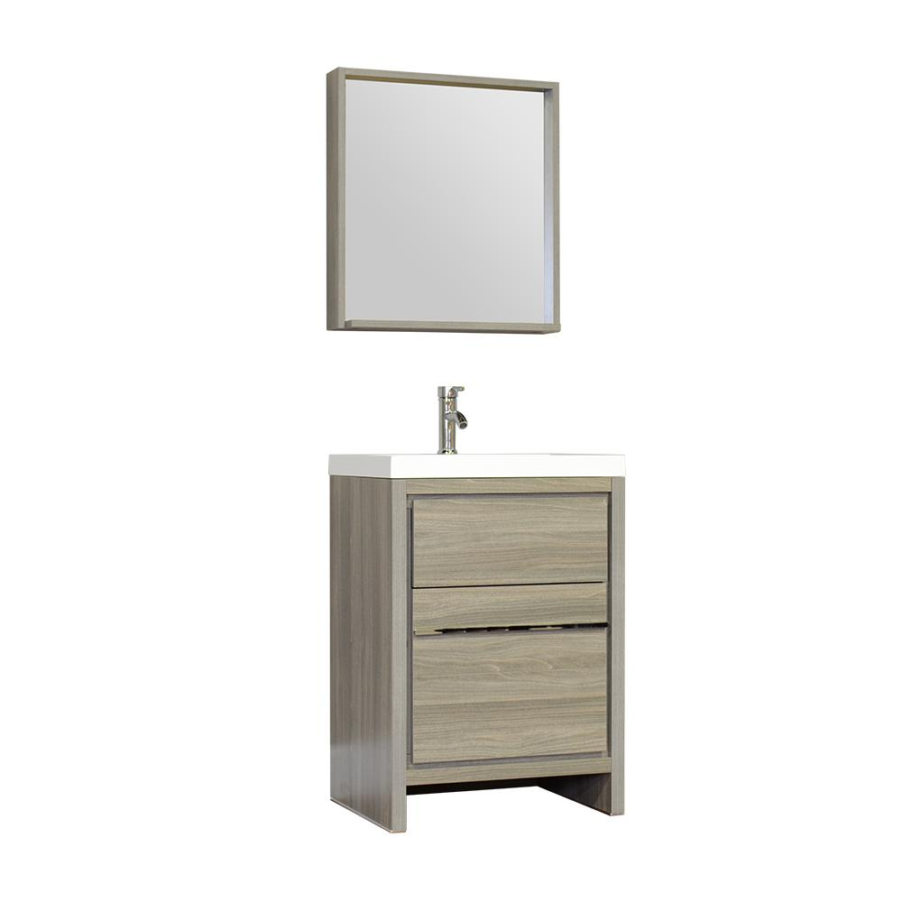 The Modern 23.5 in. W x 18.75 in. D Bath Vanity in Gray with Acrylic Vanity Top in White with White Basin and Mirror
