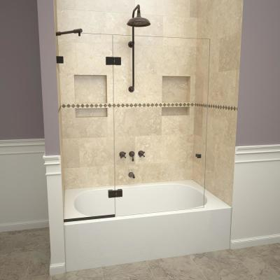 2300V Series 45 in. W x 60 in. H Semi-Frameless Fixed Tub Door with Swing Panel in Oil Rubbed Bronze and Clear Glass