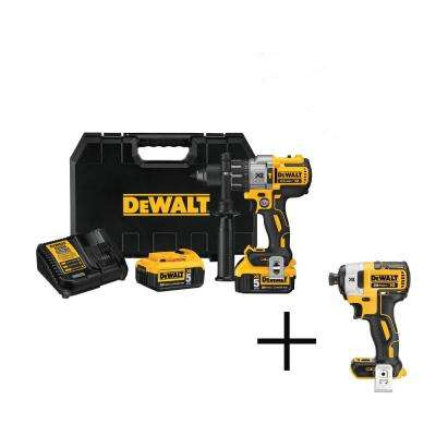20-Volt MAX XR Lithium-Ion Cordless Brushless Hammer Drill with 2 Batteries 5 Ah, Charger, Case, and Free Impact Driver
