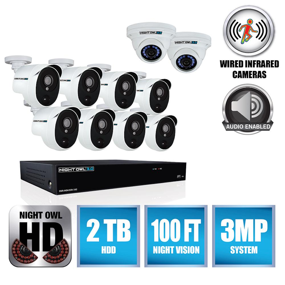 3MP 16-Channel DVR with 8 PIR Cameras (2) 3MP Audio Enabled