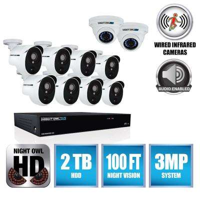 3MP 16-Channel DVR with 8 PIR Cameras (2) 3MP Audio Enabled Dome Cameras and 2 TB Surveillance DVR