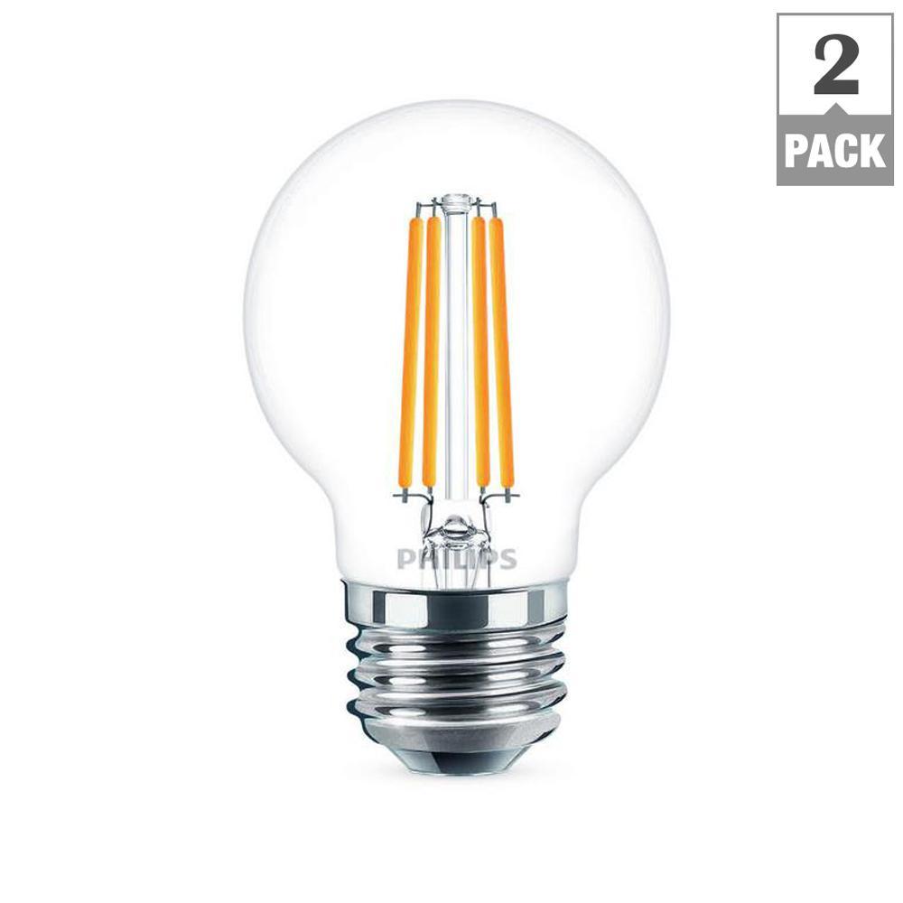 40-Watt Equivalent G16.5 Dimmable LED Light Bulb Soft White Globe (2-Pack)