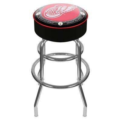 NHL Throwback Detroit Redwings 31 in. Chrome Padded Swivel Bar Stool