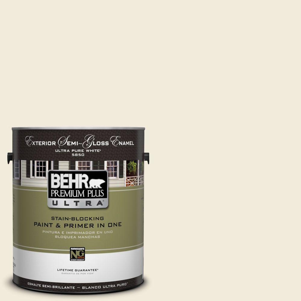 BEHR Premium Plus Ultra 1-Gal. #UL160-11 Coastal Beige Semi-Gloss Enamel Exterior Paint