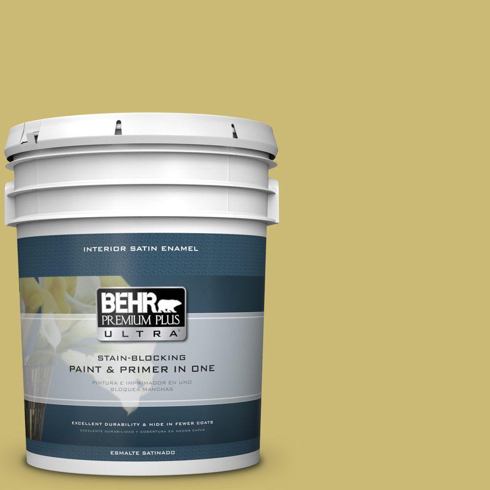 5 gal. #HDC-SP16-02 Pistachio Shortbread Satin Enamel Interior Paint