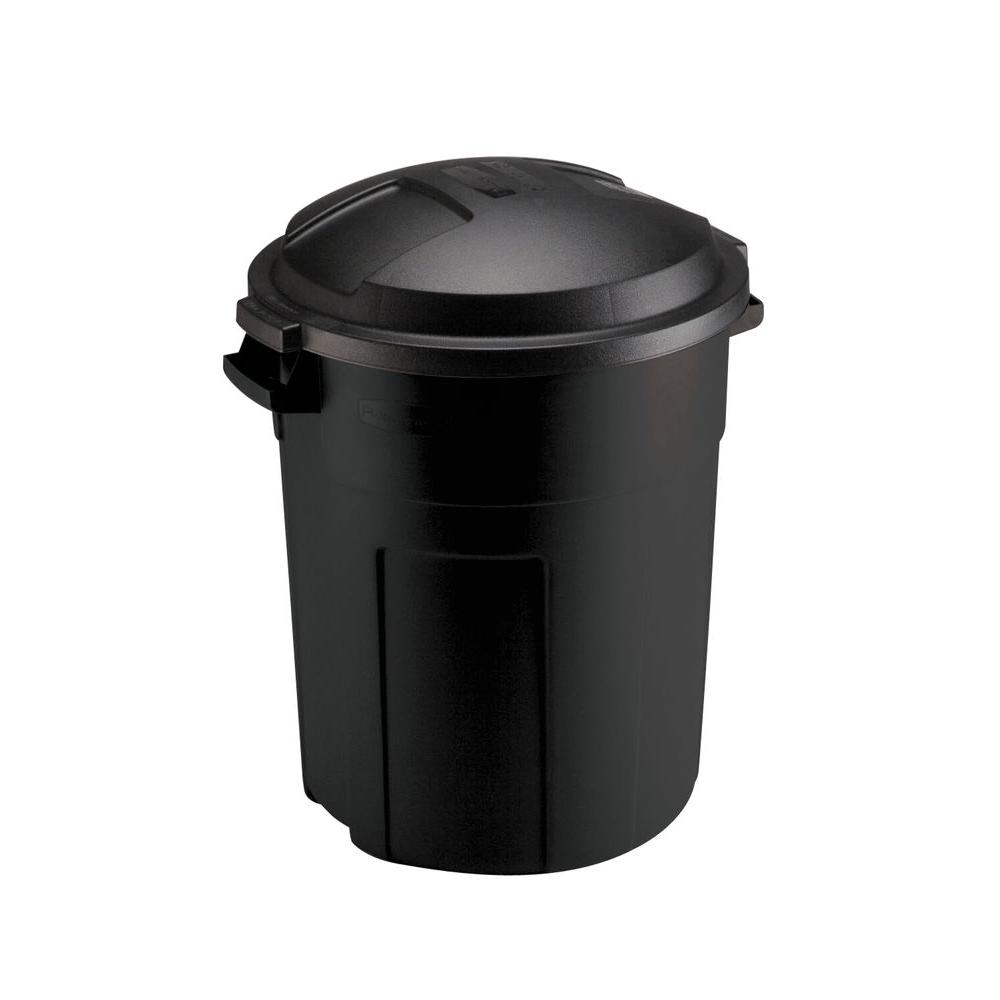 Rubbermaid Roughneck 20 Gal Black Round Trash Can With Lid Fg289200bla The Home Depot