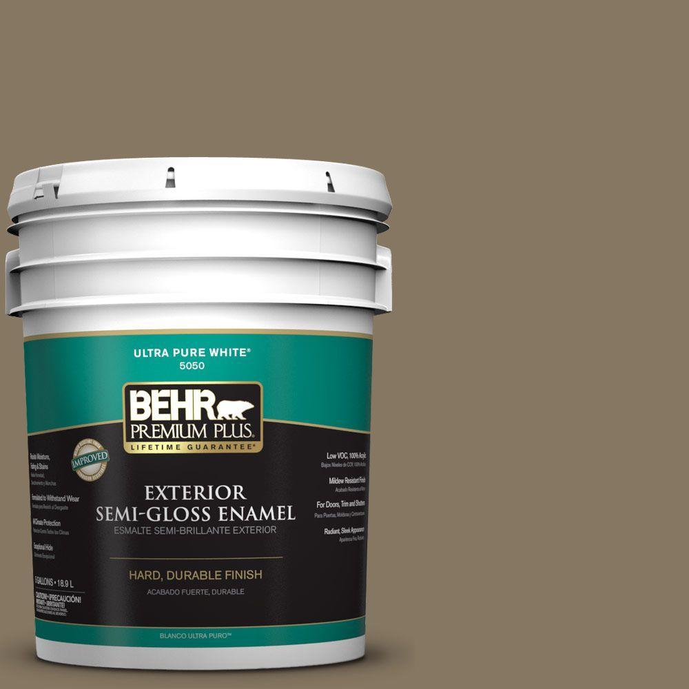 BEHR Premium Plus 5-gal. #N310-6 Palm Desert Semi-Gloss Enamel Exterior Paint