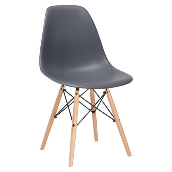 Poly and Bark Vortex Grey Side Chair with Natural Legs HD-105-NAT-GRY
