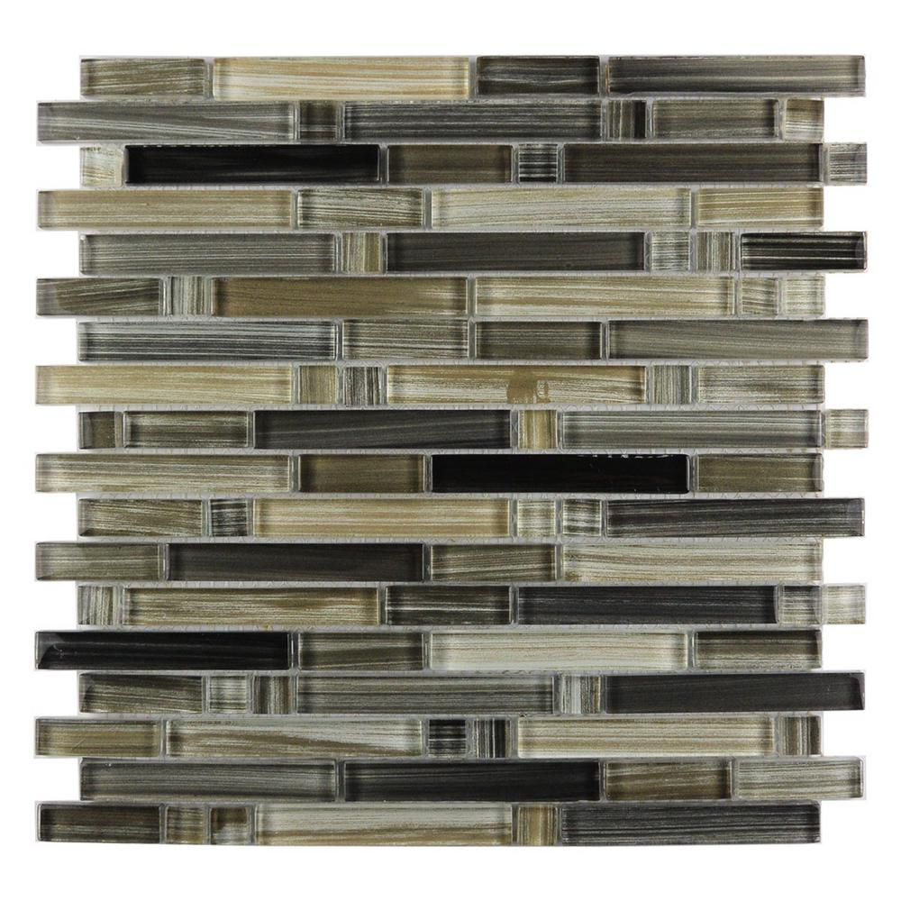 Abolos Handicraft Ii Black Sea Linear Mosaic 12 In X Glossy Gl Wall And Pool Tile 1 Sq Ft