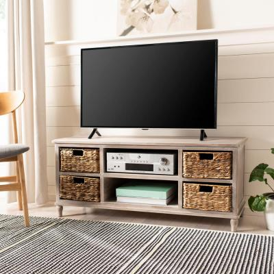 American Home 47 in. Vintage White Wood TV Stand Fits TVs Up to 45 in. with Cable Management