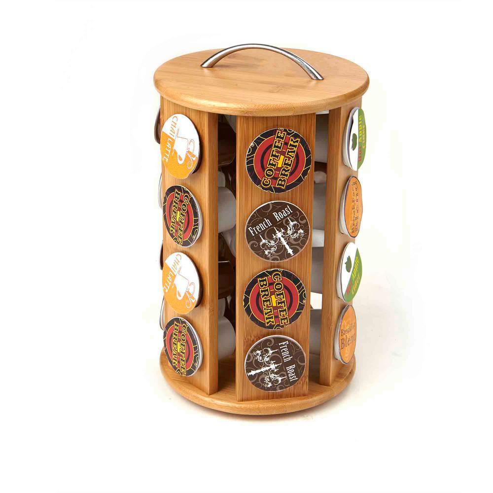 Mind Reader Bamboo K Cup Coffee Pod Carousel Storage Rack
