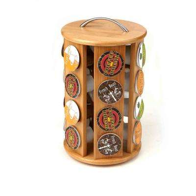 Bamboo K-Cup Coffee Pod Carousel Storage Rack 24-Capacity in Brown