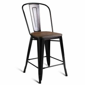 Wondrous Costway Copper Set Of 4 Metal Wood Counter Stool Kitchen Pdpeps Interior Chair Design Pdpepsorg