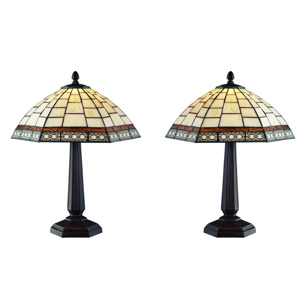 Serena D Italia Tiffany Style 18 In White Antique Table Lamp Set