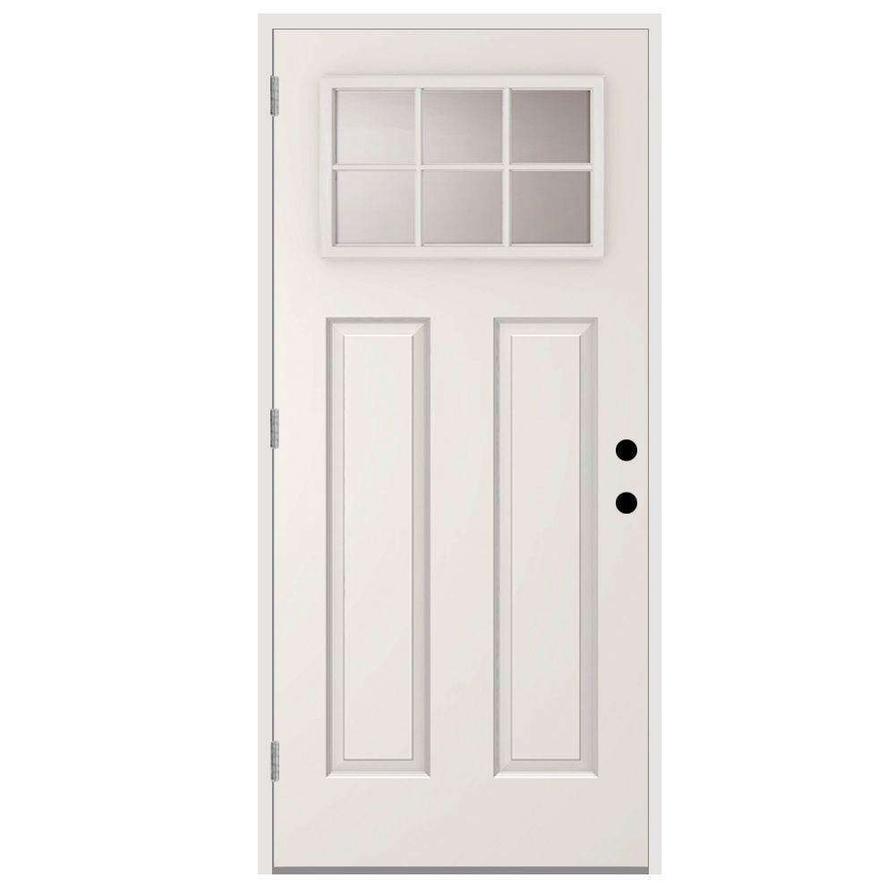 Steves & Sons 32 in. x 80 in. 6 Lite Right-Hand Outswing Primed White Steel Prehung Front Door with 4 in. Wall