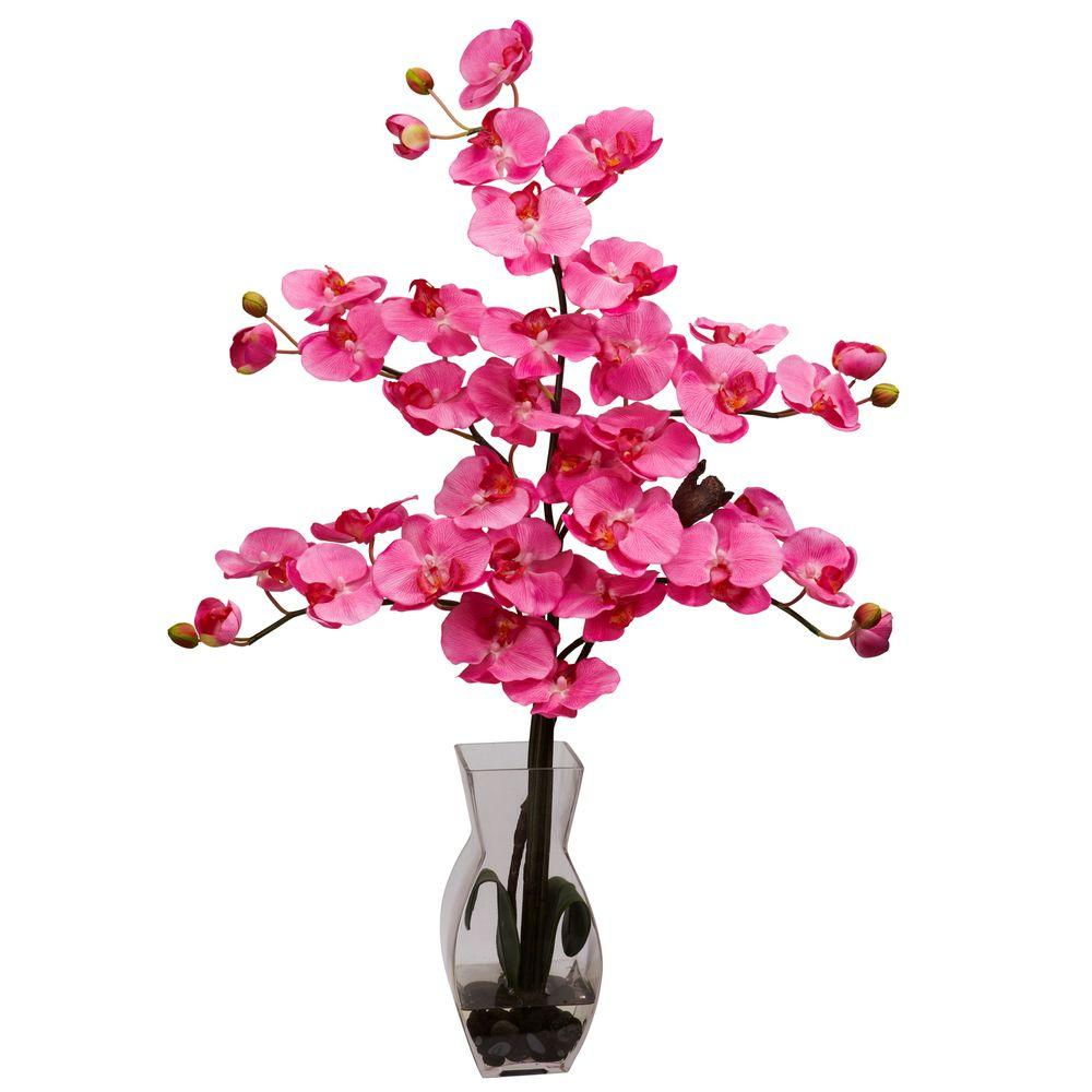 29 in. H Dark Pink Phalaenopsis with Vase Silk Flower Arrangement