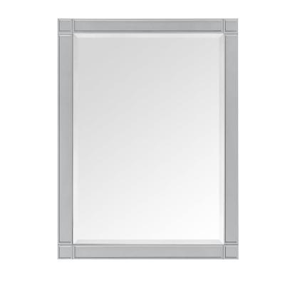 Stockham 27 in. W x 36 in. H Framed Wall Mounted Mirror in Chilled Gray
