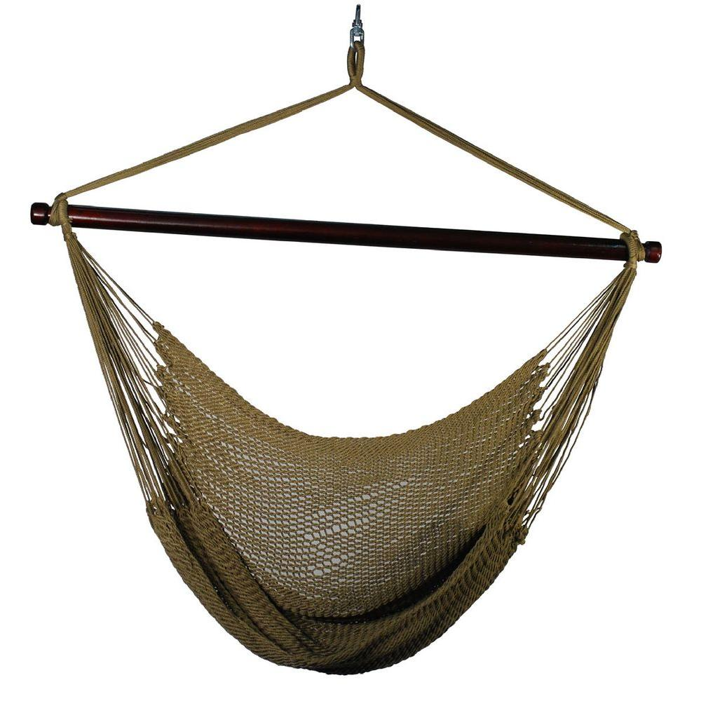 Algoma 44 In Polyester Rope Hanging Chair In Tan 4913t The Home Depot