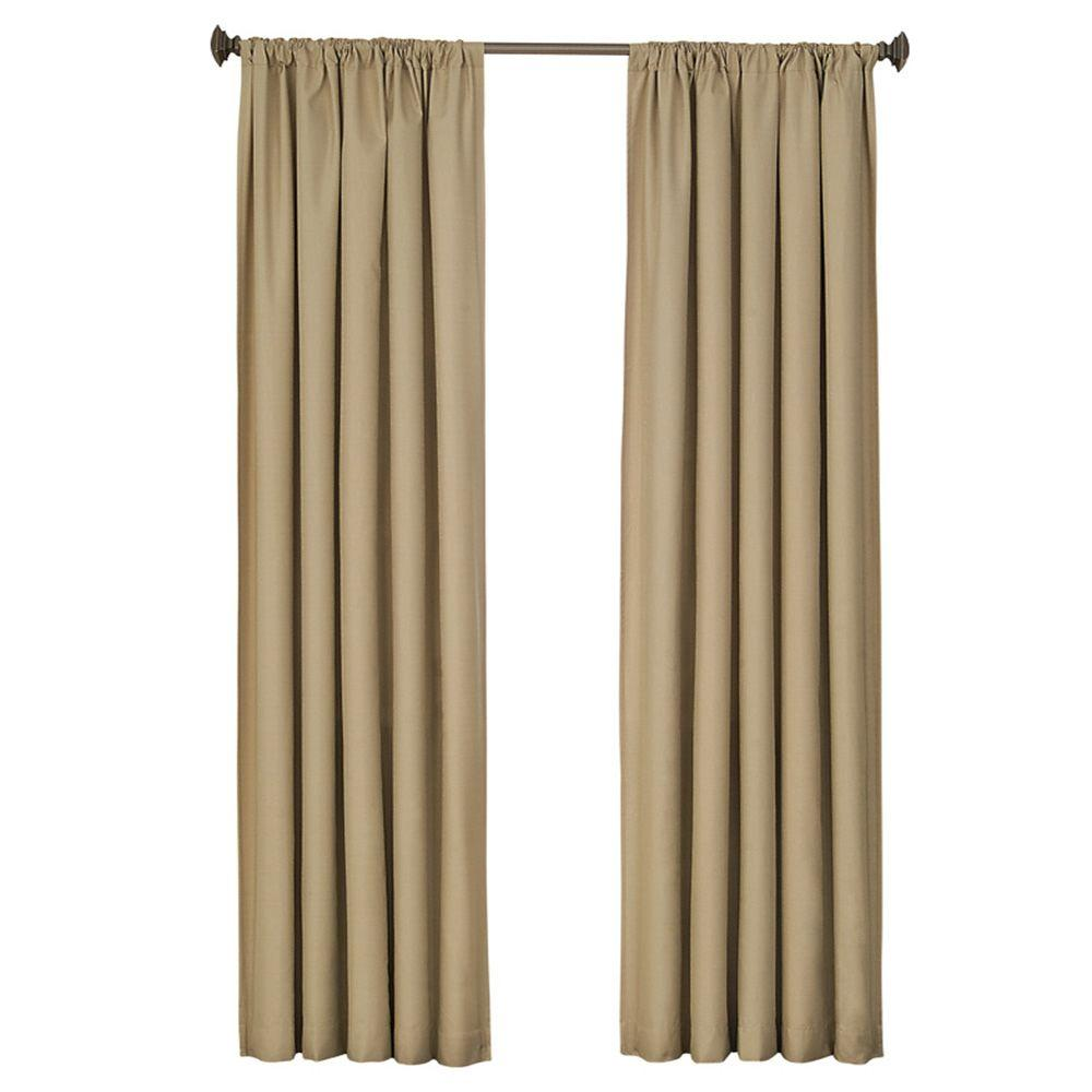 Kendall Blackout 63 in. L Polyester Curtain Panel in Cafe