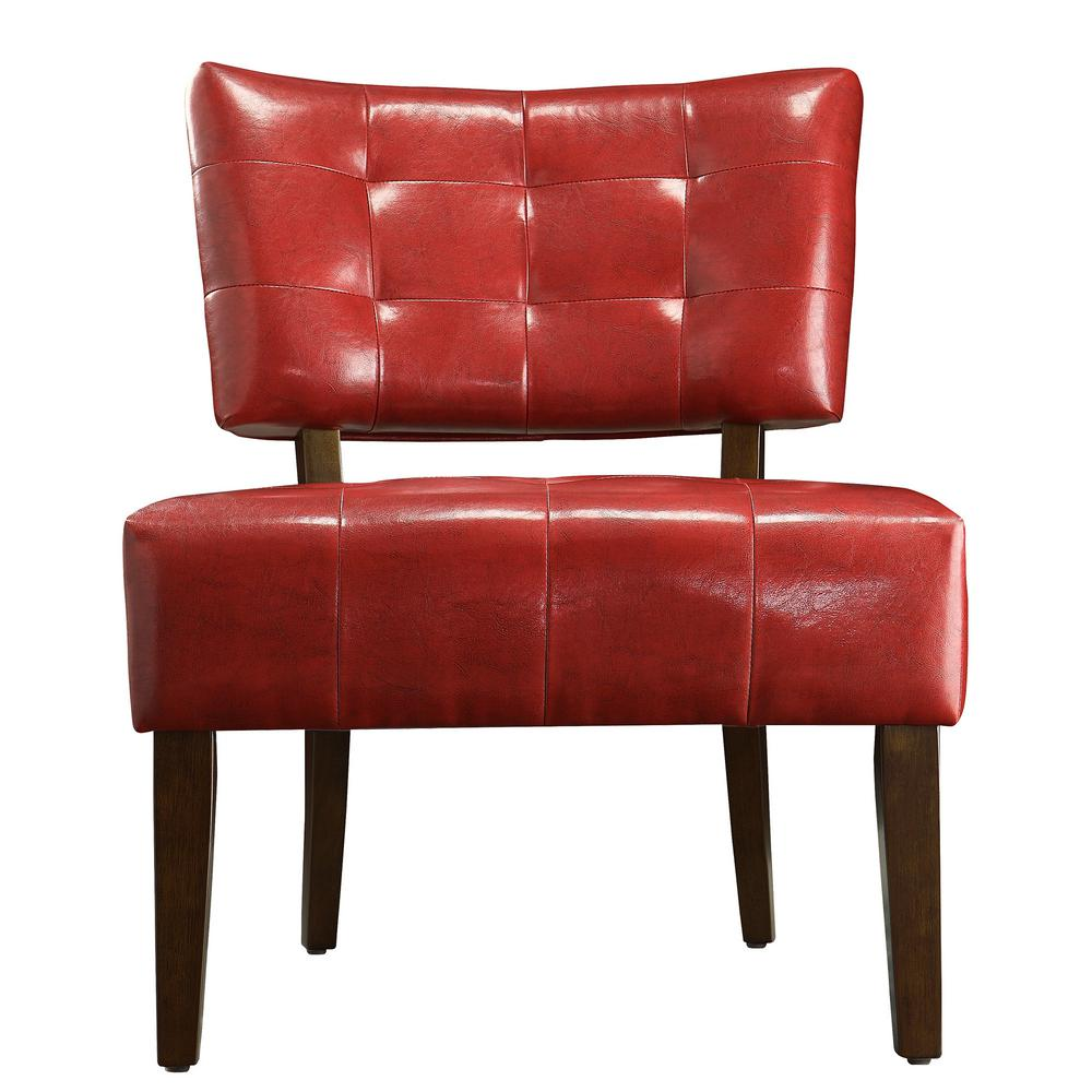 HomeSullivan HomeSullivan Cherry Vinyl Accent Chair, Red