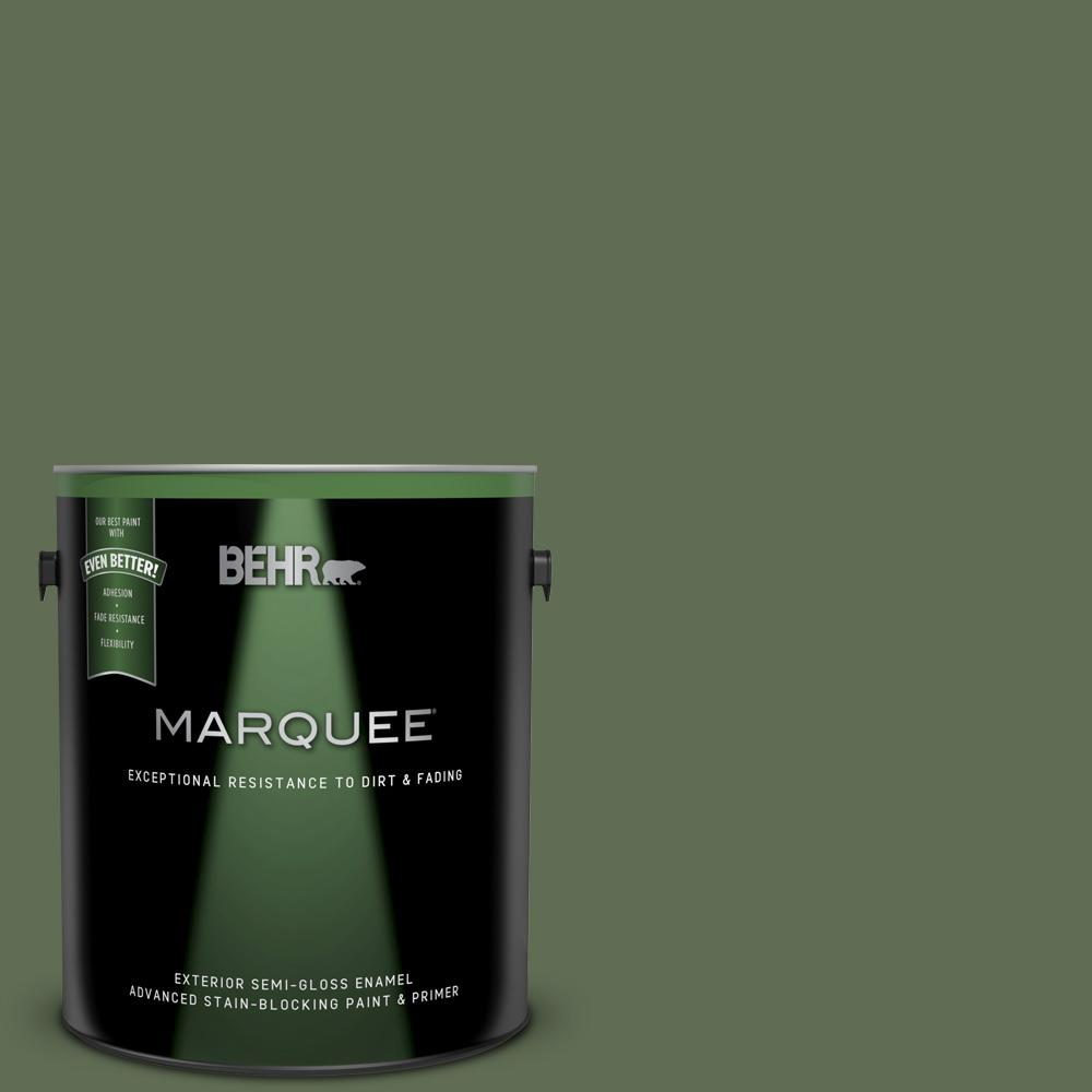 Behr Marquee 1 Gal Ecc 38 3 Sea Fern Semi Gloss Enamel Exterior Paint And Primer In One 545301 The Home Depot