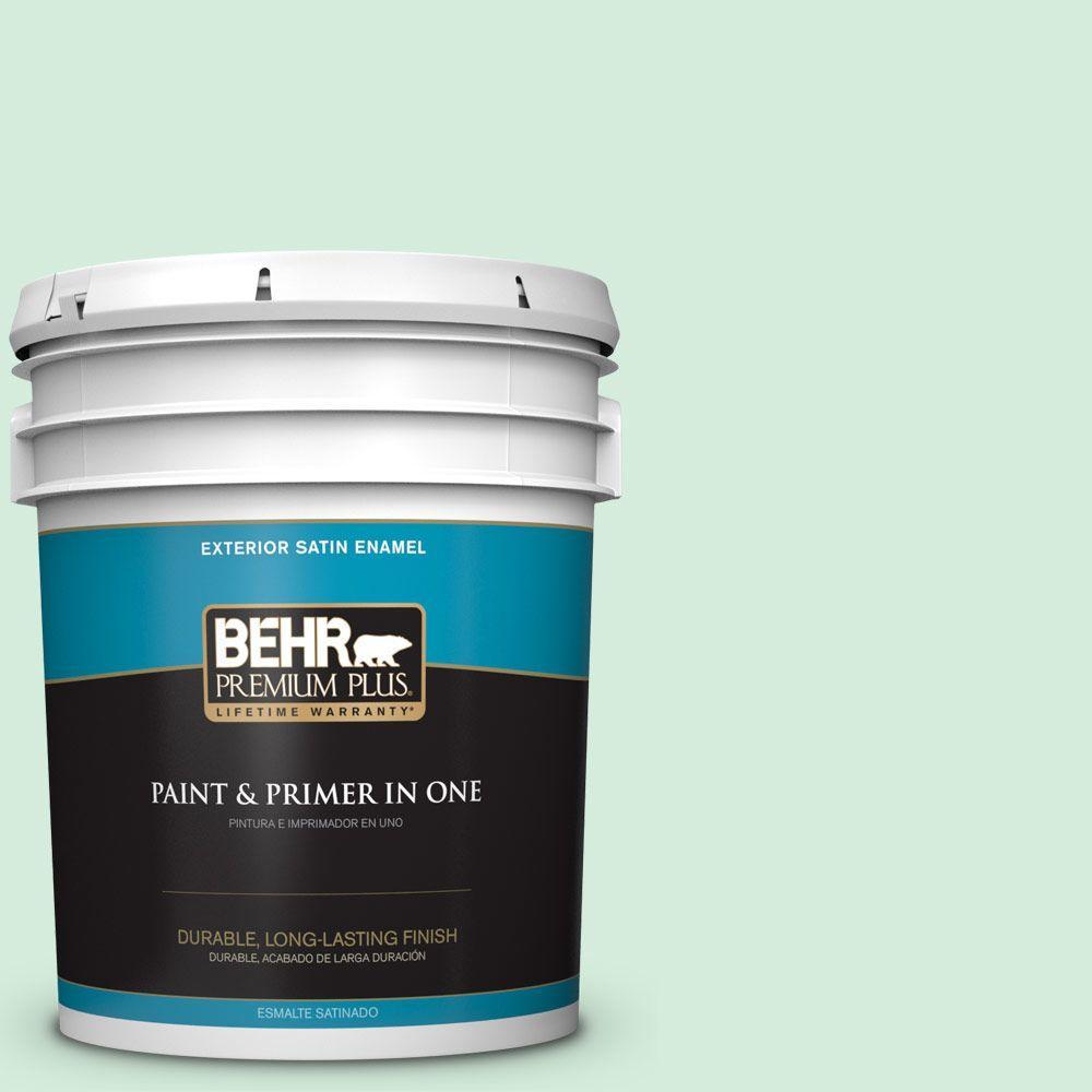 BEHR Premium Plus 5-gal. #470C-2 Winter Fresh Satin Enamel Exterior Paint
