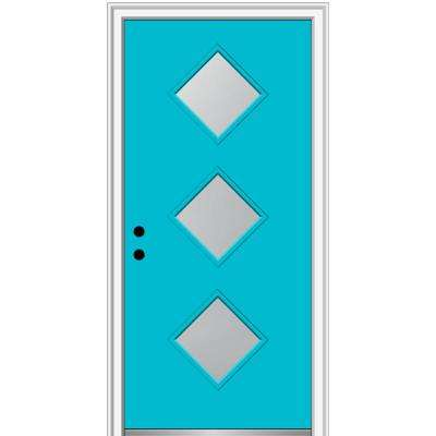 32 in. x 80 in. Aveline Right-Hand Inswing 3-Lite Frosted Glass Painted Steel Prehung Front Door on 6-9/16 in. Frame