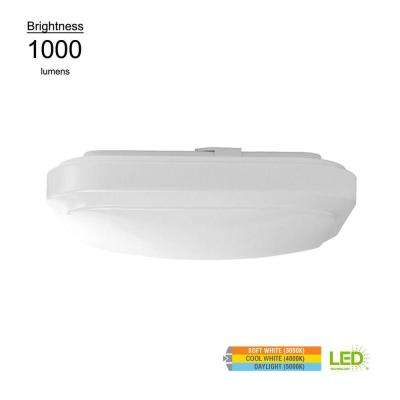 Functional Style 12 in. Square White 75 Watt Equivalent Integrated LED Flushmount (Bright/Cool White, Dimmable)