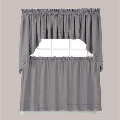 Semi-Opaque Holden 36 in. L Polyester Tier Curtain in Dove Grey (2-Pack)